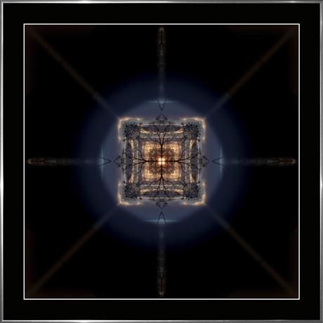 MANDALA 080 - 60x60 rám stříbrný kov